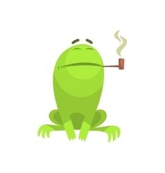 Green frog funny character smoking a long pipe vector