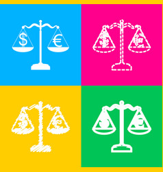 Justice scales with currency exchange sign four vector