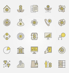 Colorful investment icons vector