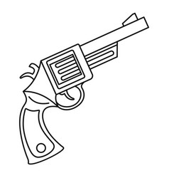 vintage revolver icon outline style vector image