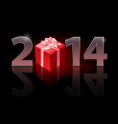 new year 2014 metal numerals with gift box vector image