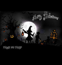 Halloween background with a little girls vector