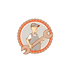 Mechanic spanner wrench rosette cartoon vector