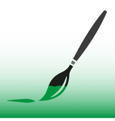 Paint brush with green paint icon eps10 vector