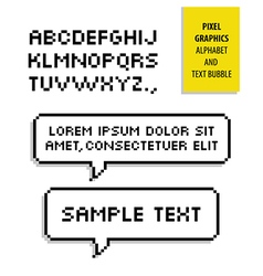 Pixel text bubble and pixel alphabet graphics vector