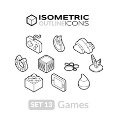 Isometric outline icons set 13 vector