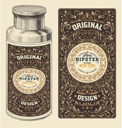 Retro design with Bottleand Floral Elements vector image