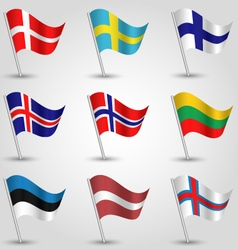 Set of flags countries of northern europe vector
