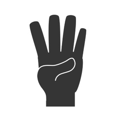 Hand number four sign icon vector