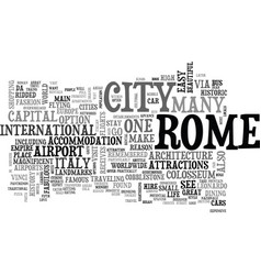 A tourist guide to rome text word cloud concept vector