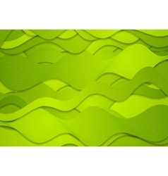 Abstract green curved waves lines vector