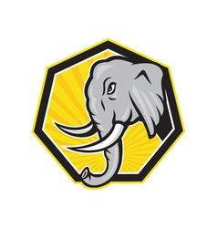 Angry elephant head side cartoon vector