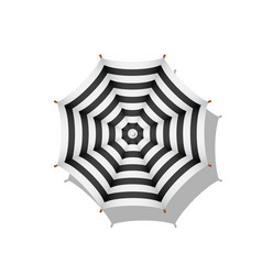 Black and white striped beach umbrella vector