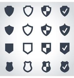 Black shield icon set vector