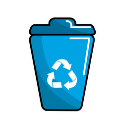 Blue can trash with recycling symbol vector