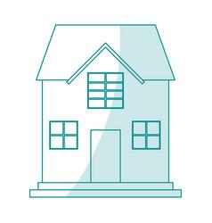 Blue silhouette shading cartoon facade confortable vector