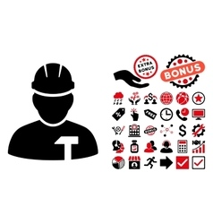 Builder Person Flat Icon with Bonus vector image
