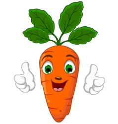 Cartoon Carrot Character giving thumbs up vector image