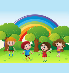 children jumping rope and playing hulahoop vector image