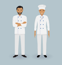 couple of male and female chefs standing together vector image