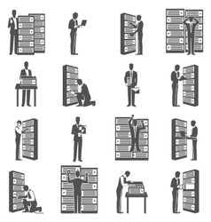Datacenter Icons Set vector image vector image