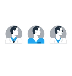 Doctor side view man turned head medical worker vector image vector image