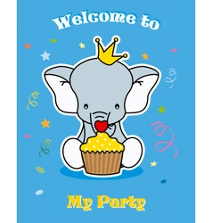 elephant with cupcake vector image