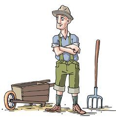 Farmer with the Wheelbarrow vector image vector image