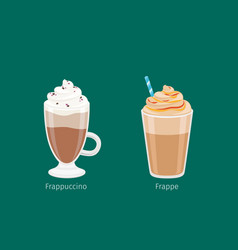 Frappuccino and frappe in glass cups on green vector