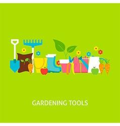 Gardening Tools Flat Concept vector image