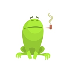 Green Frog Funny Character Smoking A Long Pipe vector image
