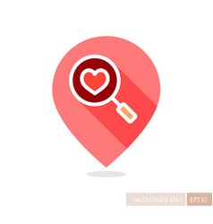 Heart search pin map icon vector