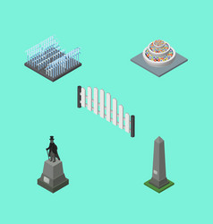 Isometric architecture set of barricade dc vector