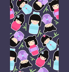 Kokeshi dolls seamless pattern vector