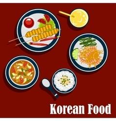 Korean cuisine food and beverages vector