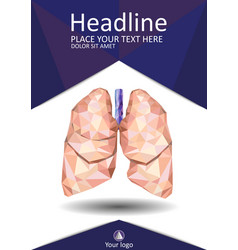 Magazine cover design with low poly human lungs vector