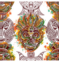 pattern with african tribal mask vector image vector image