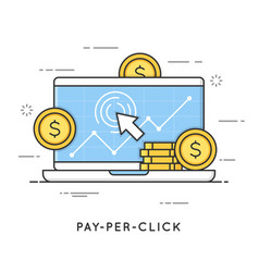 Pay per click internet marketing flat line art vector