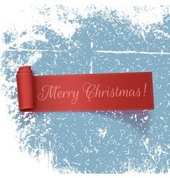 Realistic curved red ribbon merry christmas vector