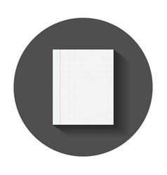 Realistic template paper sheet with square grid vector