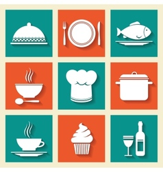 Restaurant cafe icons set vector