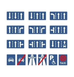 Set of different blue road signs on white vector image vector image