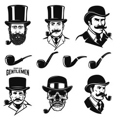set of gentlemans head with smoking pipes design vector image