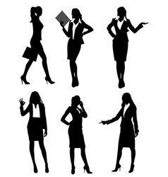 six businesswomen silhouette vector image