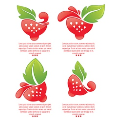 strawberry stickers vector image