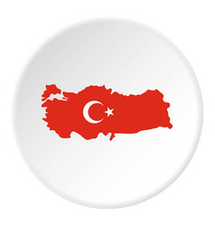 Turkey map in national flag colors icon circle vector