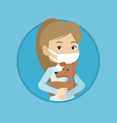 Veterinarian with dog in hands vector