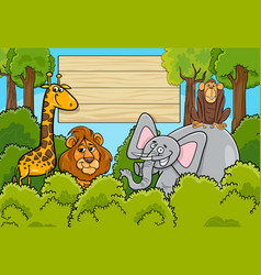 wild animal characters background vector image vector image