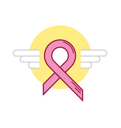Yellow ribbon breast cancer wing vector