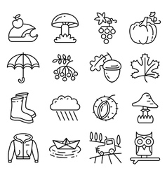 Fall season line art thin and simply icons set vector